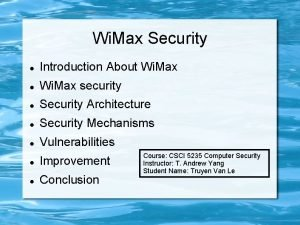 Wi Max Security Introduction About Wi Max security