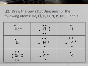 Q 2 Draw the Lewis Dot Diagrams for