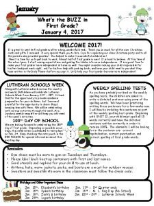 January Whats the BUZZ in First Grade January