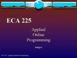 ECA 225 Applied Online Programming images ECA 225