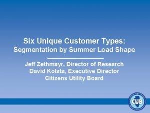 Six Unique Customer Types Segmentation by Summer Load