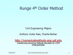 Runge 4 th Order Method Civil Engineering Majors