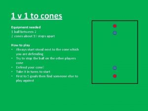 1 v 1 to cones Equipment needed 1
