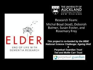 Research Team Michal Boyd lead Deborah Balmer Susan