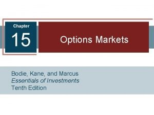 Chapter 15 Options Markets Bodie Kane and Marcus