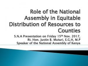 Role of the National Assembly in Equitable Distribution