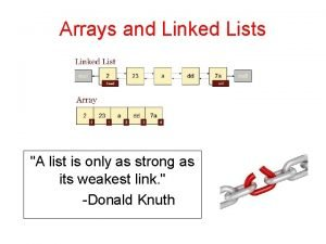 Arrays and Linked Lists A list is only