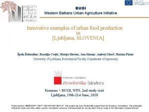 BUGI Western Balkans Urban Agriculture Initiative Innovative examples
