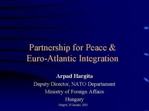 Partnership for Peace EuroAtlantic Integration Arpad Hargita Deputy