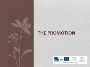 THE PROMOTION MARKETING MIX PRICE O PROM TION