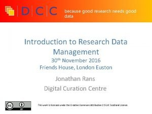 because good research needs good data Introduction to