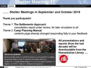 Shelter Meeting 17 Shelter Meetings in September and