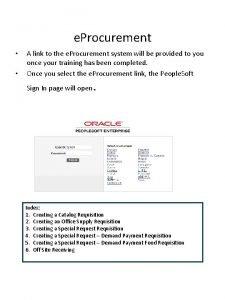 e Procurement A link to the e Procurement