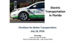 Electric Transportation in Florida Floridians for Better Transportation
