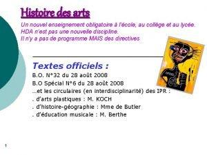 Histoire des arts Un nouvel enseignement obligatoire lcole