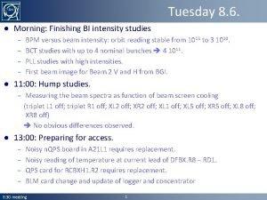 Tuesday 8 6 Morning Finishing BI intensity studies