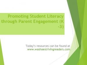 Promoting Student Literacy through Parent Engagement K 3