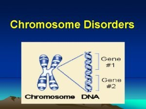 Chromosome Disorders Classification of genetic disorders Singlegene disorders