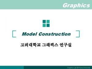 Graphics Model Construction Graphics Lab Korea University Model