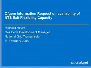 Ofgem Information Request on availability of NTS Exit