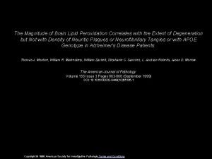 The Magnitude of Brain Lipid Peroxidation Correlates with