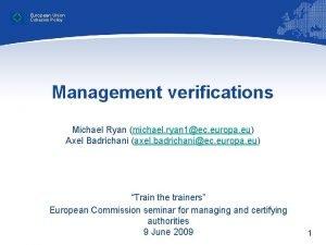 European Union Cohesion Policy Management verifications Michael Ryan
