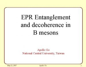 EPR Entanglement and decoherence in B mesons Apollo