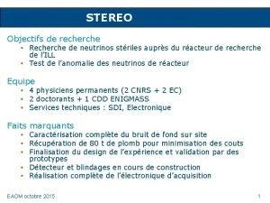 STEREO Objectifs de recherche Recherche de neutrinos striles
