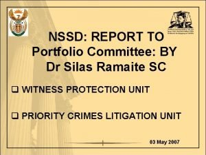 NSSD REPORT TO Portfolio Committee BY Dr Silas