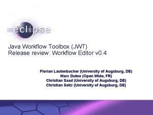 Java Workflow Toolbox JWT Release review Workflow Editor