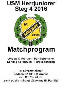 USM Herrjuniorer Steg 4 2016 Matchprogram Lrdag 13