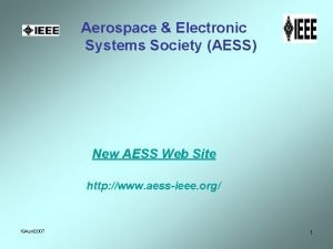 Aerospace Electronic Systems Society AESS New AESS Web