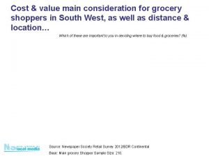 Cost value main consideration for grocery shoppers in