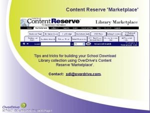 Content Reserve Marketplace Tips and tricks for building