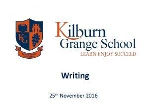 Writing 25 th November 2016 Writing Writing is