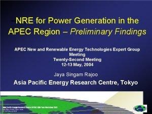 NRE for Power Generation in the APEC Region