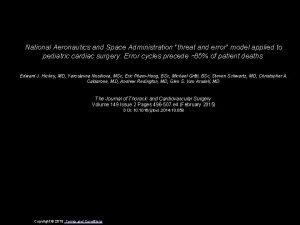 National Aeronautics and Space Administration threat and error