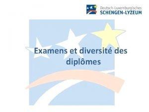 Examens et diversit des diplmes Rglement scolaire Niveaux