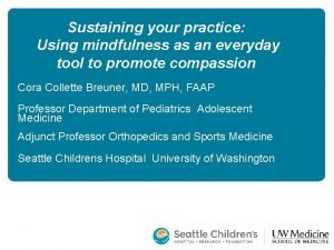 Sustaining your practice Using mindfulness as an everyday