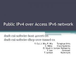 Public IPv 4 over Access IPv 6 network