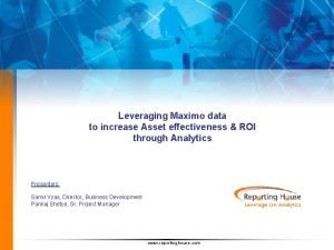 Leveraging Maximo data to increase Asset effectiveness ROI