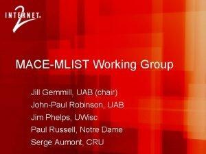 MACEMLIST Working Group Jill Gemmill UAB chair JohnPaul