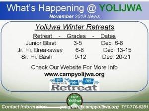 Whats Happening YOLIJWA November 2019 News Yoli Jwa