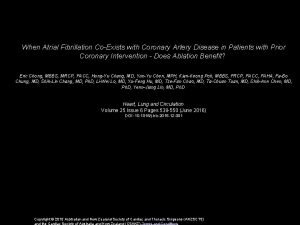 When Atrial Fibrillation CoExists with Coronary Artery Disease