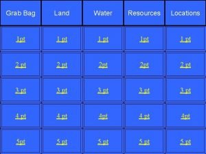 Grab Bag Land Water Resources Locations 1 pt