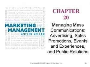 CHAPTER 20 Managing Mass Communications Advertising Sales Promotions