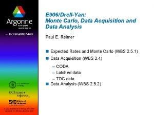 E 906DrellYan Monte Carlo Data Acquisition and Data
