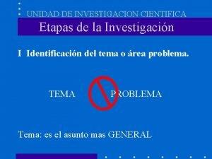 UNIDAD DE INVESTIGACION CIENTIFICA Etapas de la Investigacin