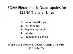 ZQNA Electrostatic Quadrupoles for ELENA Transfer Lines 1