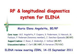 RF longitudinal diagnostics system for ELENA Maria Elena